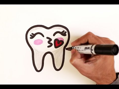 How To Draw A Cute Tooth Emoji Easy Youtube