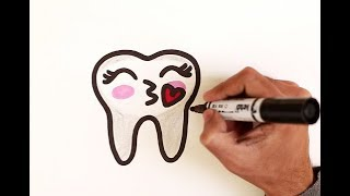 How To Draw A Cute TOOTH EMOJI Easy