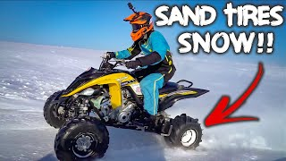 Quad With Sand Dune Tires Rips In Snow!!!! (Crash)