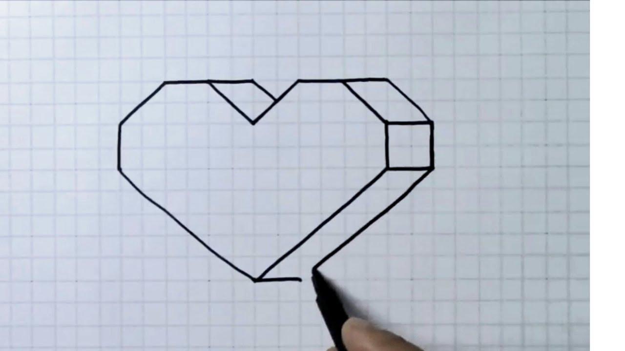 Kareli Deftere Çok Kolay 3 D Çizimler, Kalp Çizimi