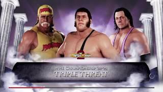 WWE 2K18 André The Giant VS Bret Hart VS Hulk Hogan Triple Threat Elimination Match WWE Title