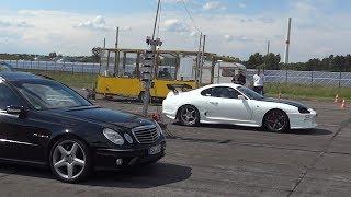 1000HP Toyota Supra 2JZ vs. Mercedes E55 AMG