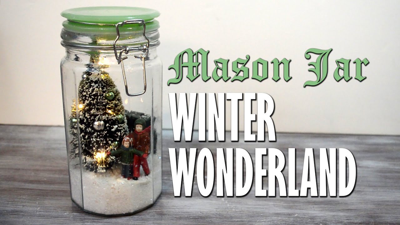 Diy Mason Jar Winter Wonderland Snowglobe Scene Homemade Christmas