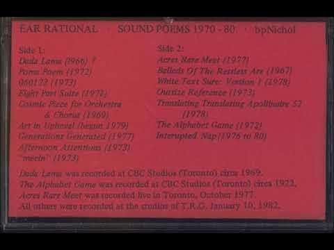bpNichol - Ear Rational Sound Poems 1970-1980 FULL ALBUM