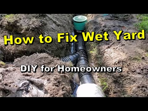 GUARANTEED | How to SOLVE Wet Soggy Yard, How to Install a French Drain