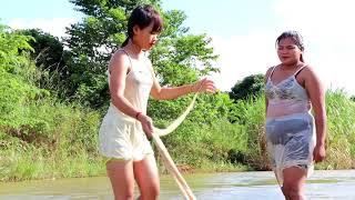 Beautiful Girl Fishing | Amazing Fishing In Cambodia | Beautiful Girl Fishing In B - girl  part 128
