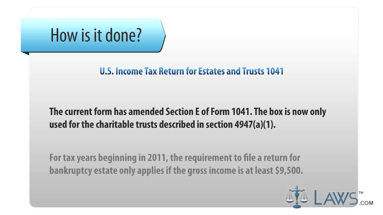 U S Income Tax Return for Estates and Trusts 1041 - YouTube