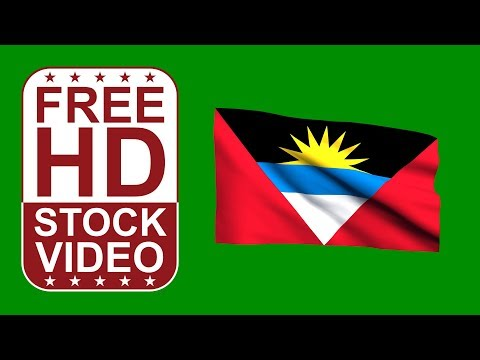 FREE HD video backgrounds – Antigua Barbuda flag waving on green screen 3D animation