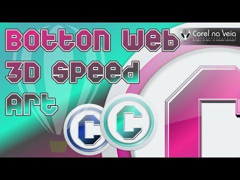 Botton Web 3D In CorelDRAW 2017  Speed Art