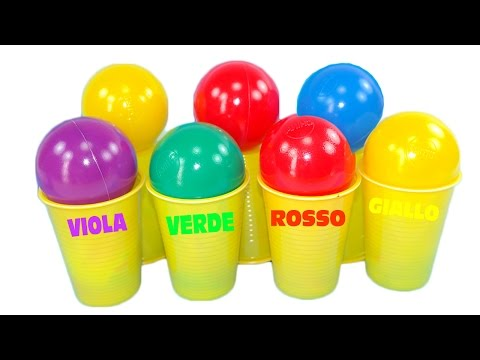 Impara i colori con 7 palle colorate! Kinder ovetti sorpresa! Giocattoli Masha e Orso & Hello kitty