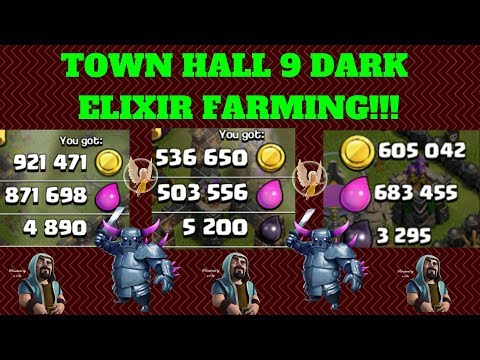 FARMING DARK ELIXIR AT TH9 WITH NO HEROES!!! -