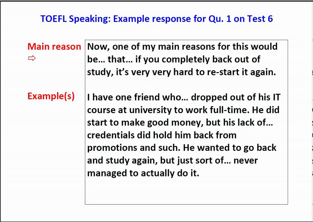 new toefl ibt speaking question 1 sample with scripts youtube - Toefl Essay Example