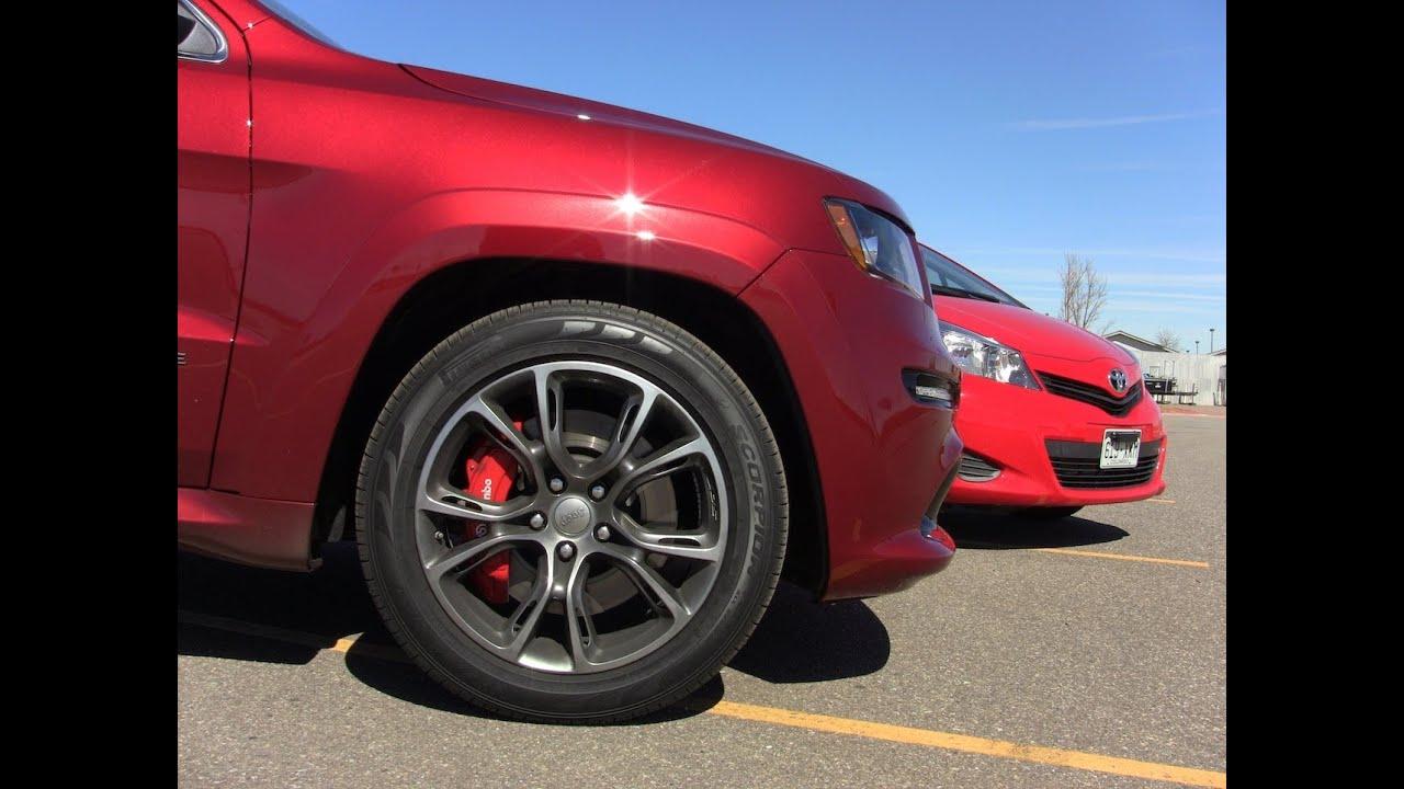 2012 jeep cherokee srt8 vs toyota yaris 0-60-0 mph performance