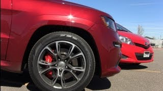 2012 Jeep Cherokee SRT8 vs Toyota Yaris 0-60-0 MPH Performance Mashup Test