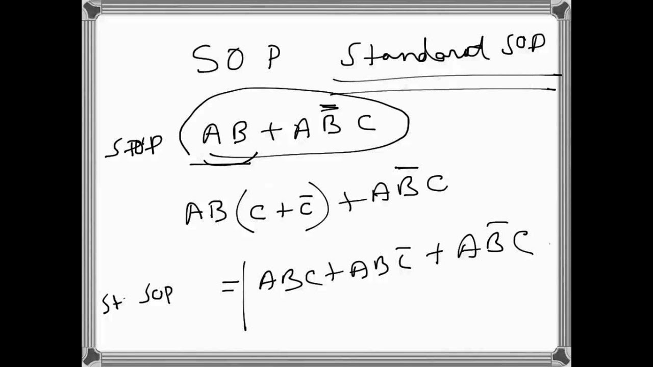 digital electronics  sop and standard sop boolean