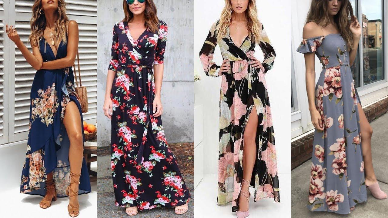 Moda 2020 Vestidos Largos De Primavera Verano Estampados De Flores Y De Colores