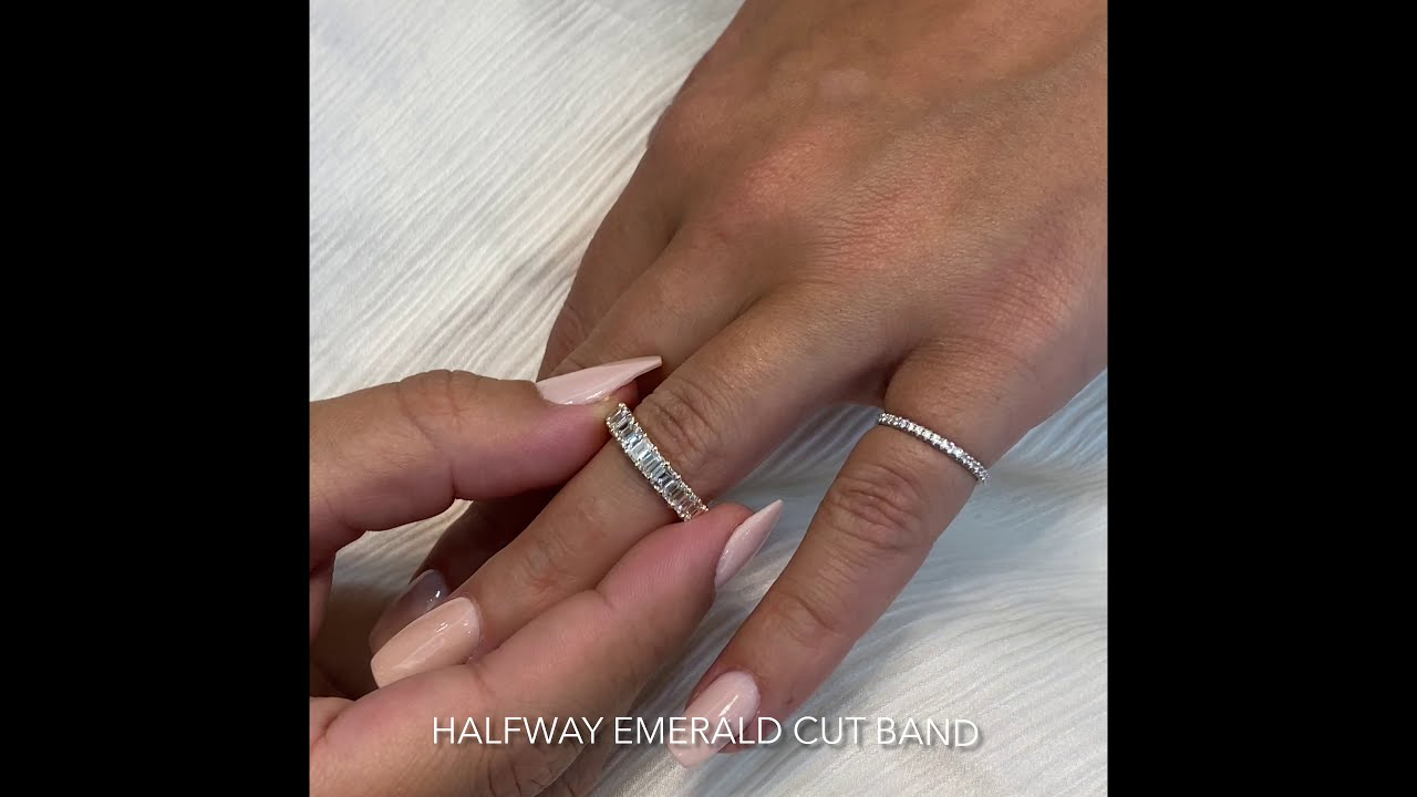 Halfway Emerald Cut Wedding Band in Yellow Gold