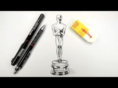 How to draw an Oscar Statue - YouTube