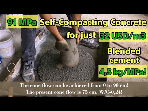 How We Made 91 MPa Self-compacting Concrete For 32 Usd/m3 │SCC Production│SCC Mix│SCC  Tests│
