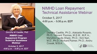 2017 Loan Repayment Program Technical Assistance Webinar