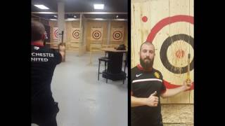 Axe Throwing Montreal: Trick Shot 42.7 feet throw @ Maniax
