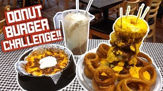 Cheesy Donut Burger Challenge w/ Loaded Fries & Root Beer Float!!