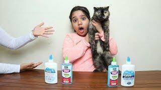 تحدي قطتنا تختار مكونات السلايم !!!! Our Cat Pick Our Slime Ingredients Challenge