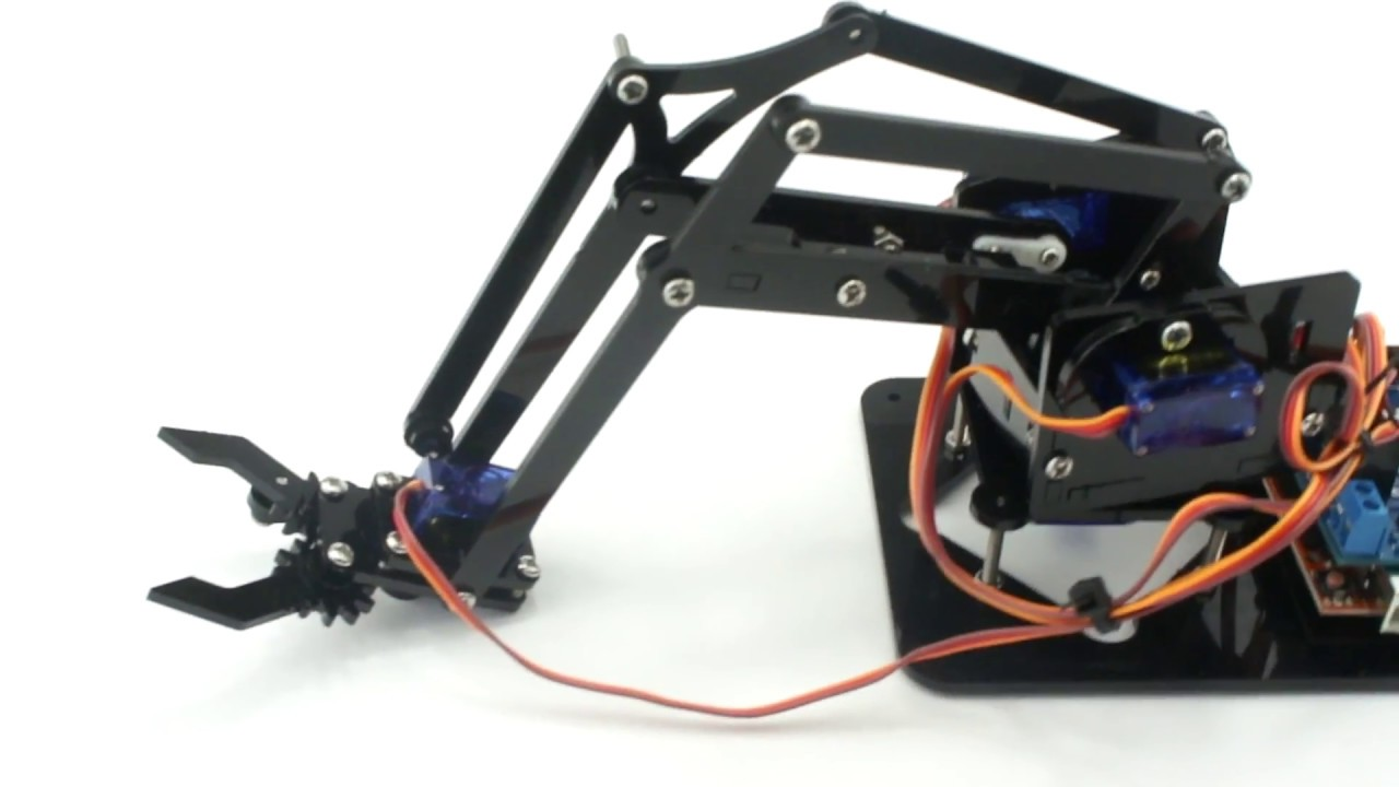 Arduino Robot Arm 4dof Mechanical Claw Kit Youtube Rover 25 Stereo Wiring Diagram