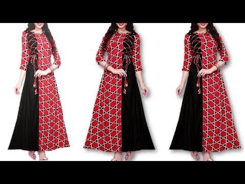 DIY Designer Long Kurti Cutting And Stitching Full Tutorial