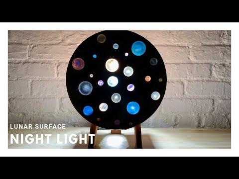 Epoxy and Wood Lunar Surface Night Light