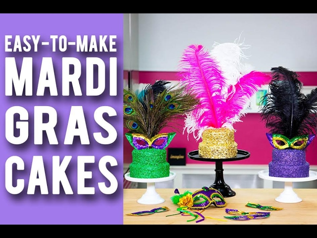 how-to-make-mardi-gras-cakes-purple-green-gold-velvet-cakes-with-festive-confetti-feathers