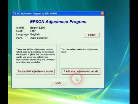 Epson L800 Resetter Software Download