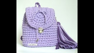 Рюкзак из трикотажной пряжи крючком для девочки.