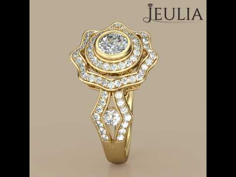 Vintage Gold Tone Halo Round Cut Created White Sapphire Engagement Ring