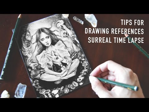 Tips for Drawing References for Paintings | Surreal Drawing Time Lapse
