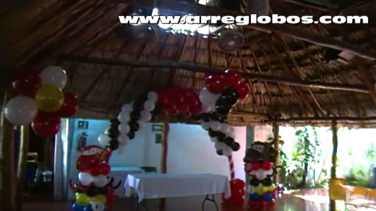 Decoraci n con globos cars youtube for Decoracion con figuras en la pared