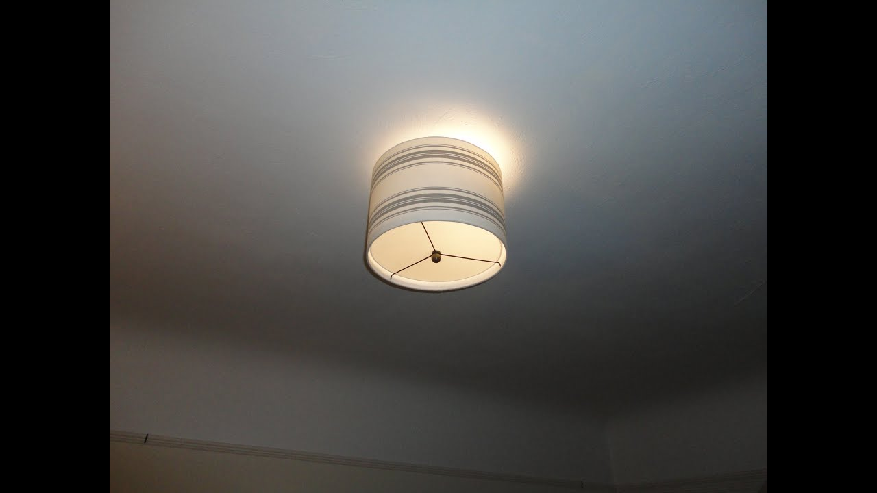 Creating A Drum Lamp Shade For Your Ceiling Light Fixture YouTube - Lamp shades for bedrooms