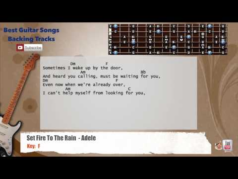Set Fire To The Rain - Adele Guitar Backing Track with scale, chords and lyrics