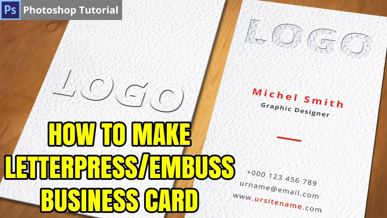 How to Create Letterpress emboss text effect Business Card in ...