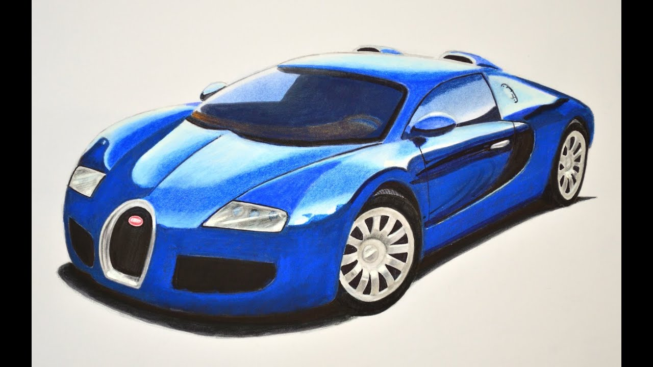 How To Draw A Bugatti With Colors How To Draw A Super Car Youtube