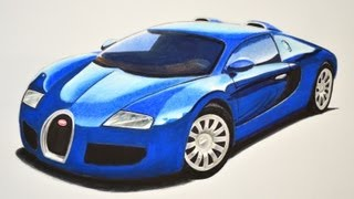 How to Draw a Bugatti With Colors - How to Draw a Super Car