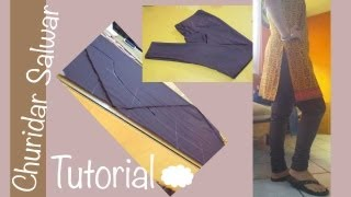 ★ How to make a perfect Churidar Salwar ★bias cutting / Aadaa Pajama  ♥ Cloud factory ☁