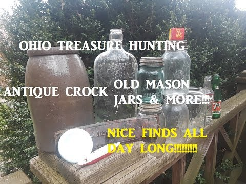 OHIO TREASURE HUNTING Antique Crock Bottles & More!!!!!! Mason Jars