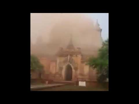 Myanma Burma Earthquake caught on camera Sulmani Temple Bagan Myanmar