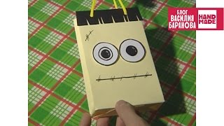 Пакет для подарков Франкенштейн / Package Frankenstein / ПОДЕЛКА НА ХЕЛЛОУИН / DIY HALLOWEEN