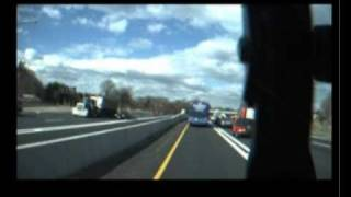 Car crushed  in a BUS vs TRUCK CRASH - Caught Live on Tape