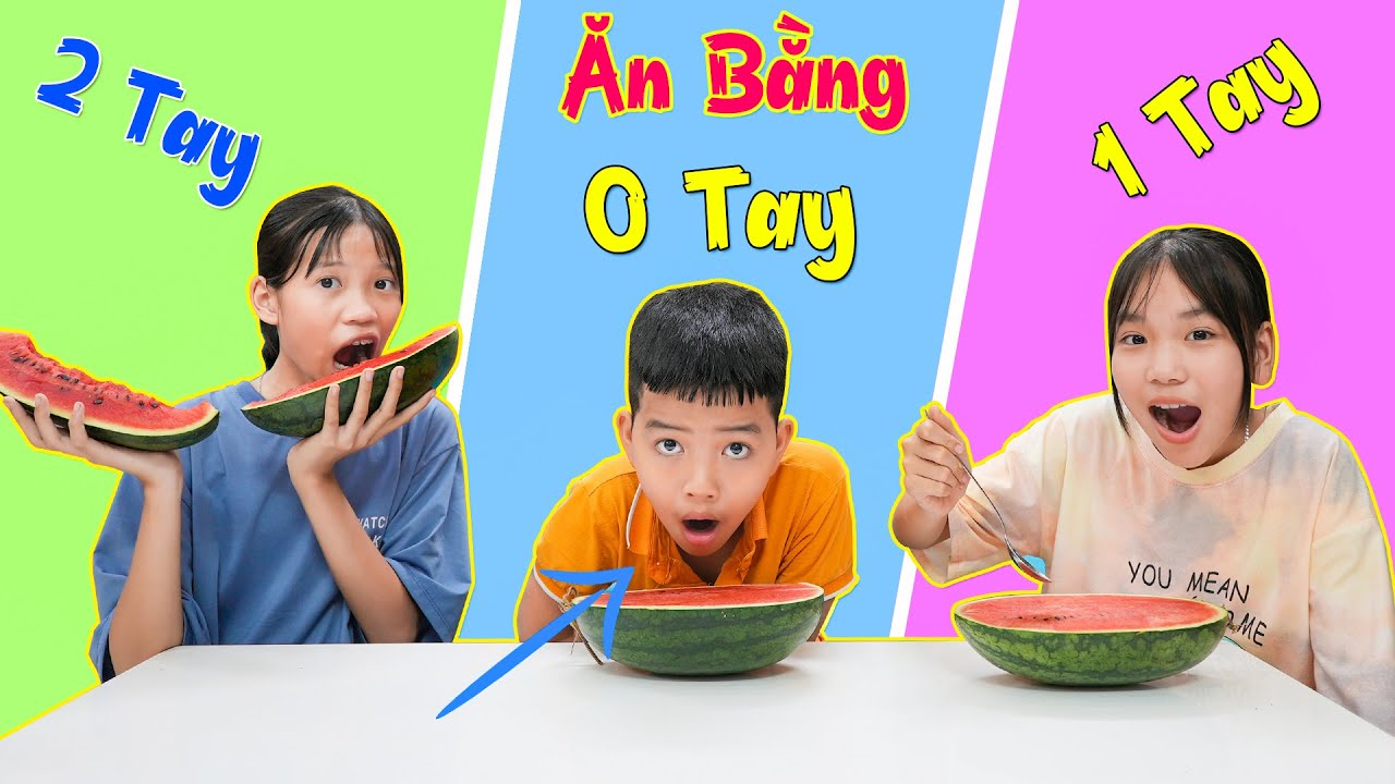 Thử Thách Ăn Bằng 0 TAY - 1 TAY - 2 TAY ♥ Minh Khoa TV