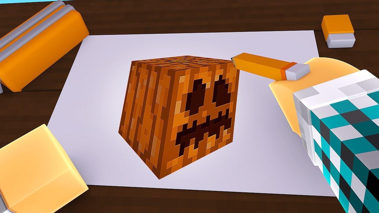 Colorindo Uma Abobora No Minecraft Minecraft Desenho 3