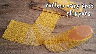 Желтые следки на двух спицах | Yellow easy knit slippers pattern