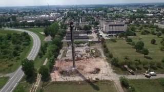 Wyburzanie komina Kutno dron